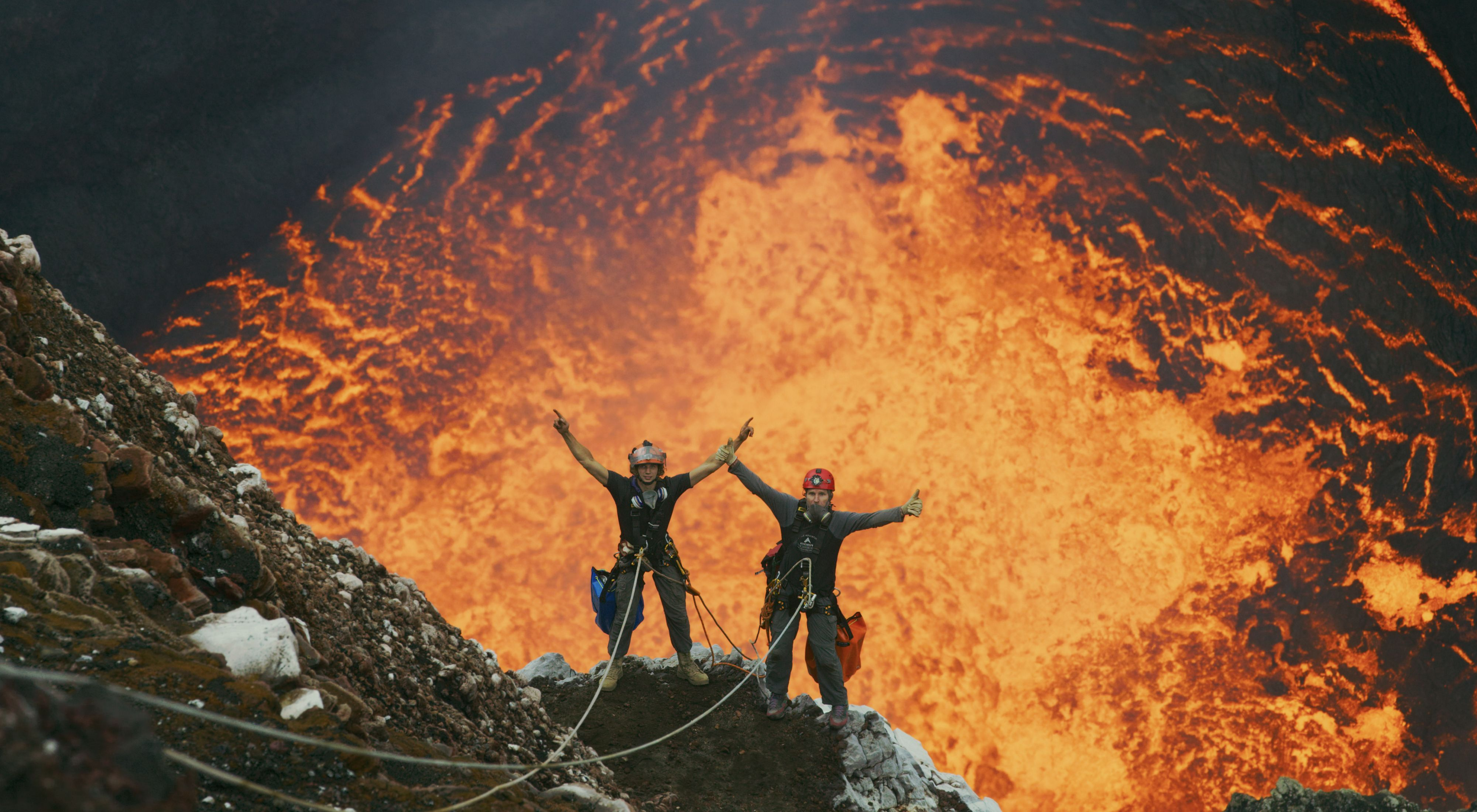 National Geographic photographers Carsten Peters and Chris Horsley descend into the Ambrym Volcano's Marum Crater on Vanuatu.