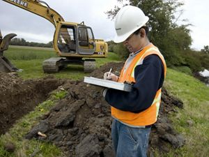 Photo of soil testing in Washington state, a federal stimulus project.