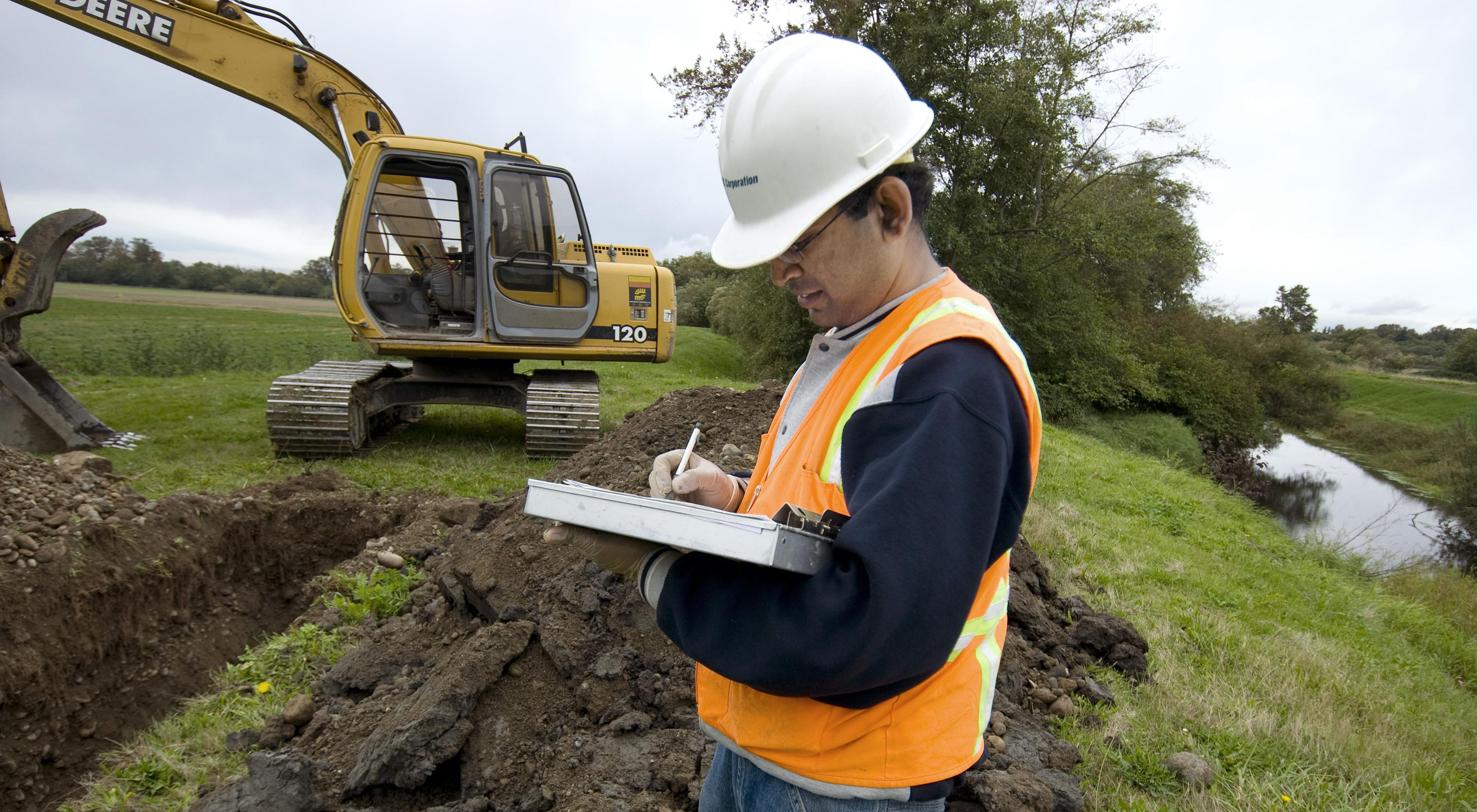Photo of soil testing in Washington State, a stimulus project.