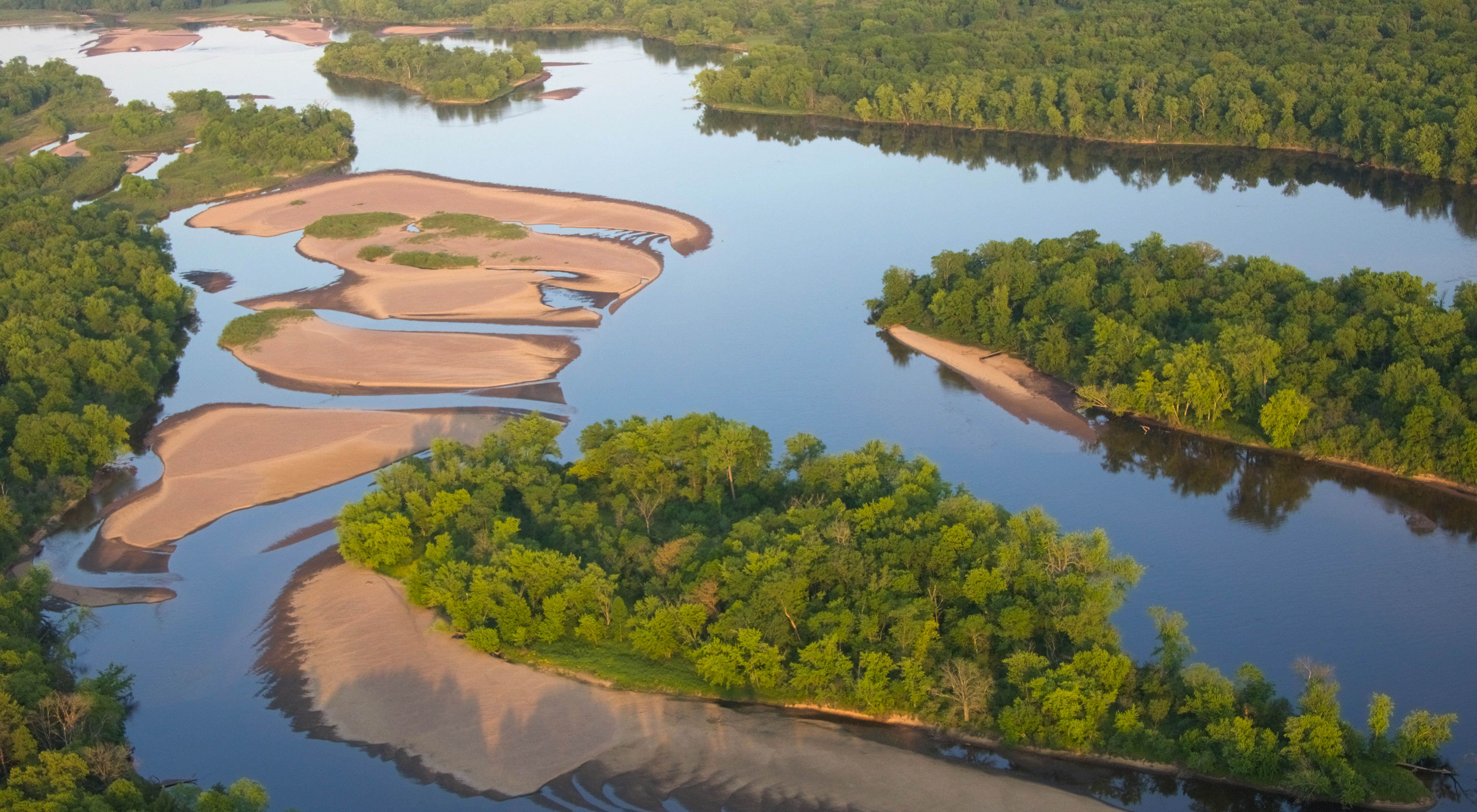 Aerial view of the Wisconsin River and its lush green islands.
