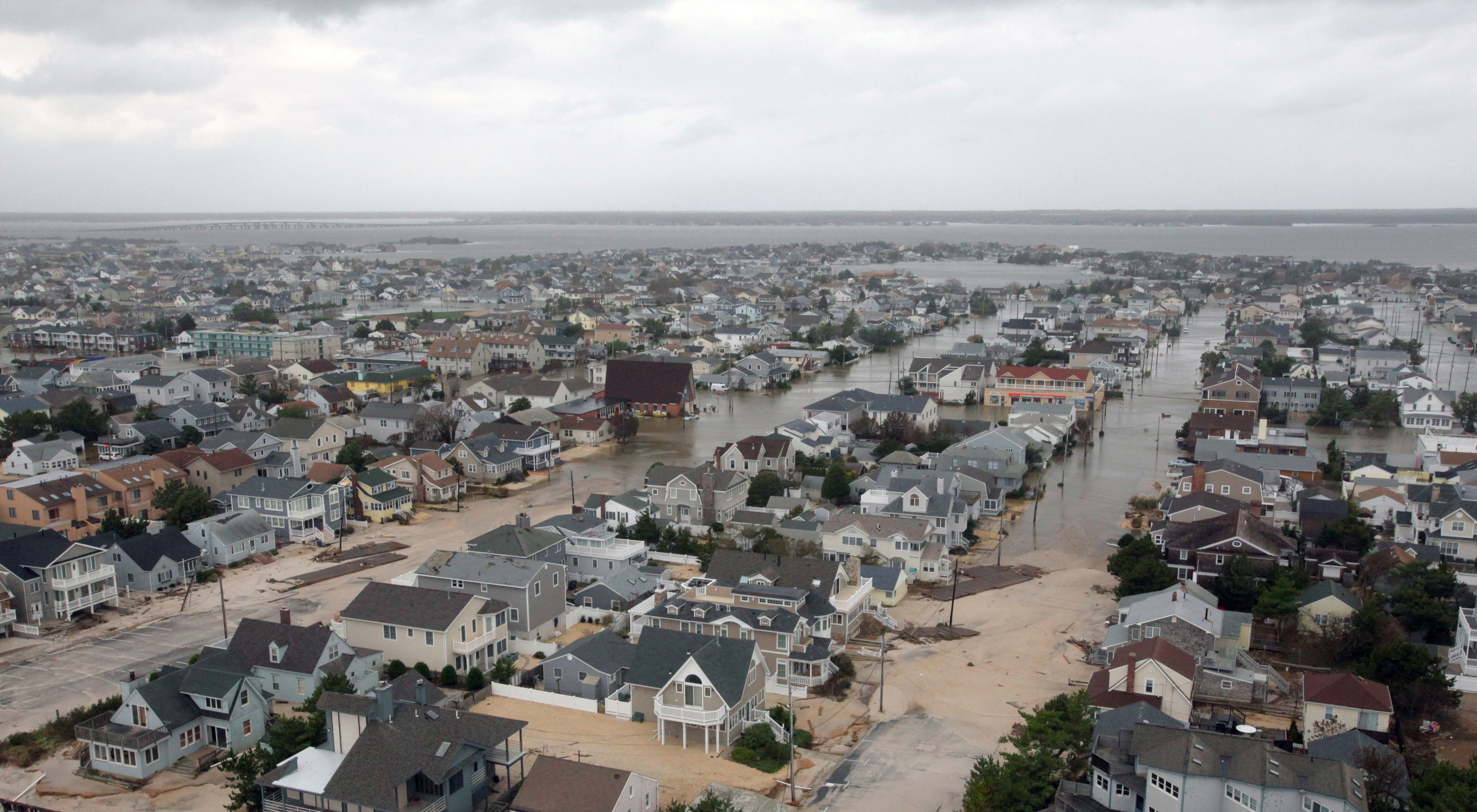 An aerial photo showing coastal New Jersey homes devastated by Hurricane Sandy in 2012.