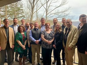 Staff and board members of TNC in West Virginia gathered at Canyon Rim Visitors Center at the New River Gorge National River Sen. Joe Manchin speak about passing LWCF.