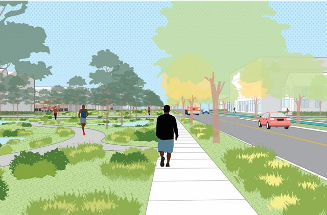 Digital rendering of a young man walking through a park that has implemented Green Stormwater Infrastructure (GSI)