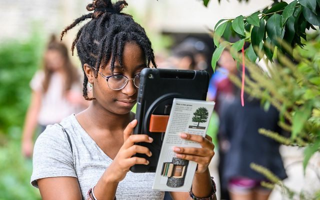 Photo of a girl looking at a tablet to identify a plant in an Austin, Texas, park.