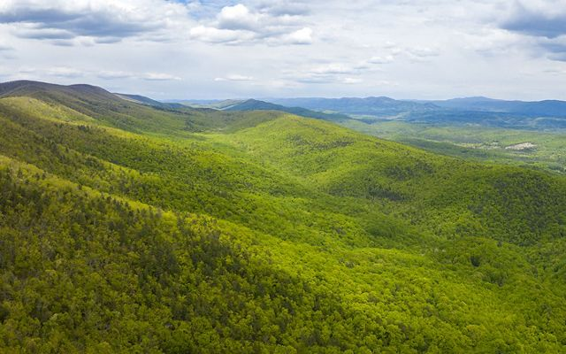 Drone view looking out over rolling mountain ridges and valleys. The mountain sides are thickly forested. Sunlight dapples over the trees. Small clearings and farms are visible in the distance.