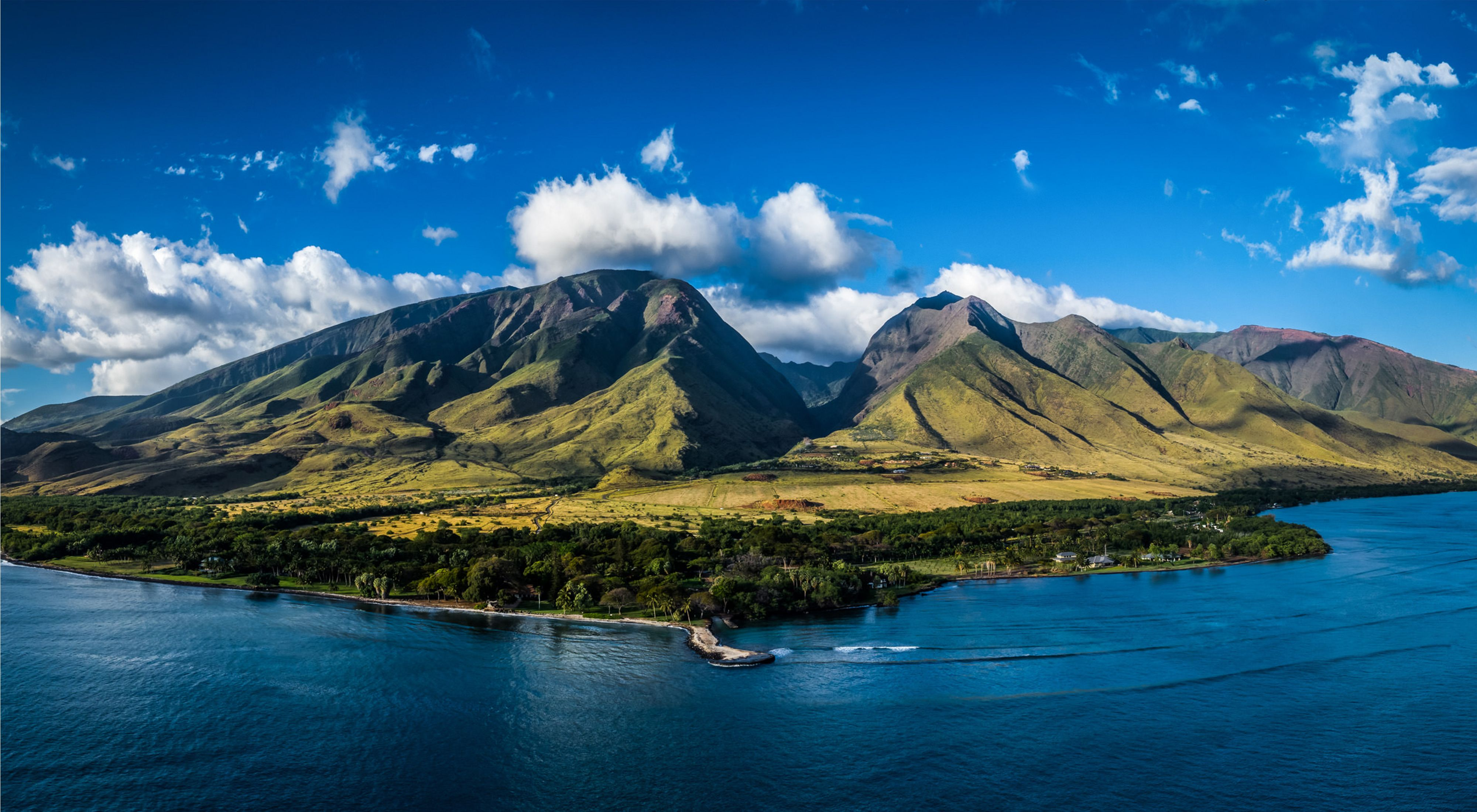 Aerial view of West Maui, from ridges to reef.