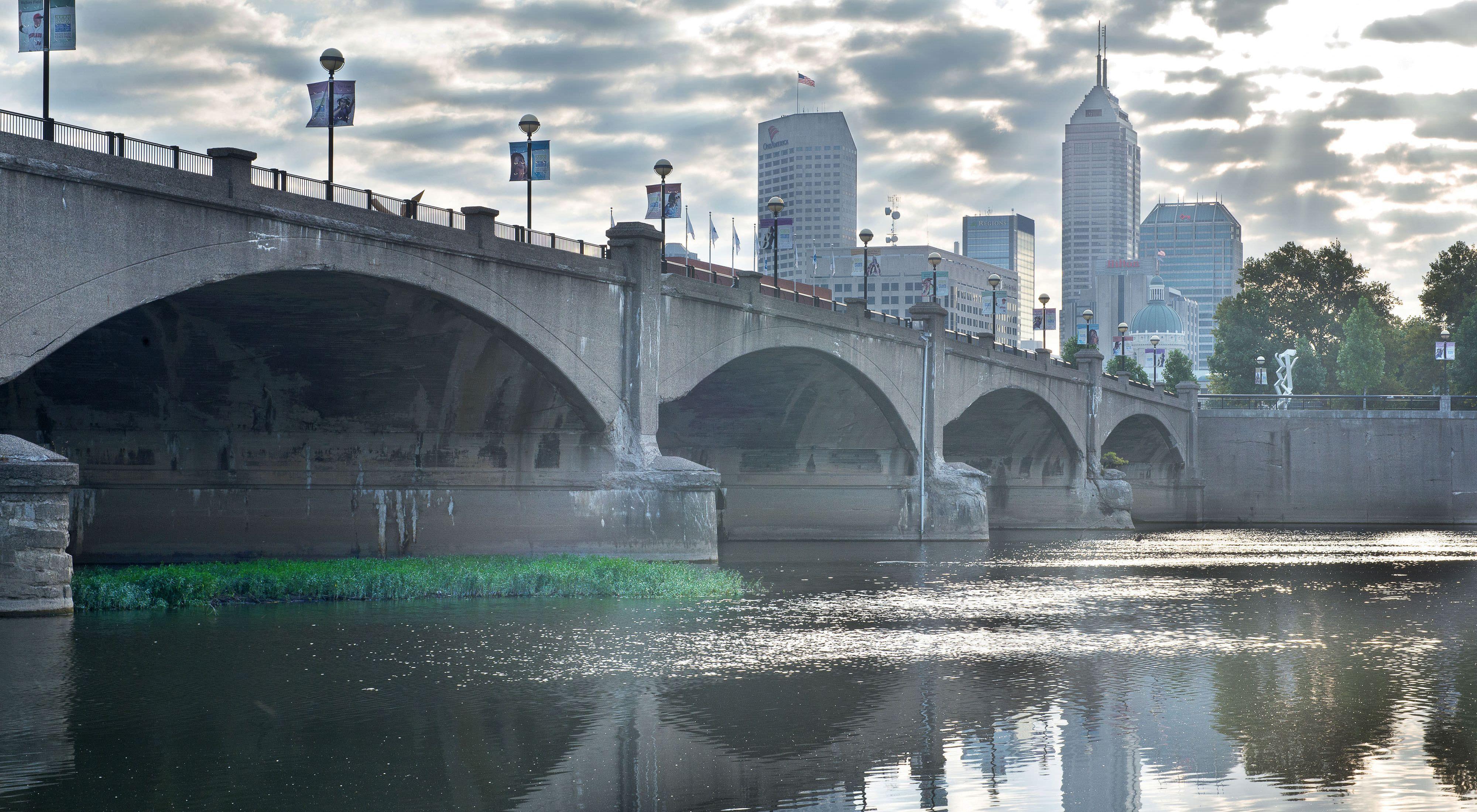 The White River as it flows through downtown Indianapolis