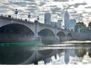 The White River as it flows through downtown Indianapolis
