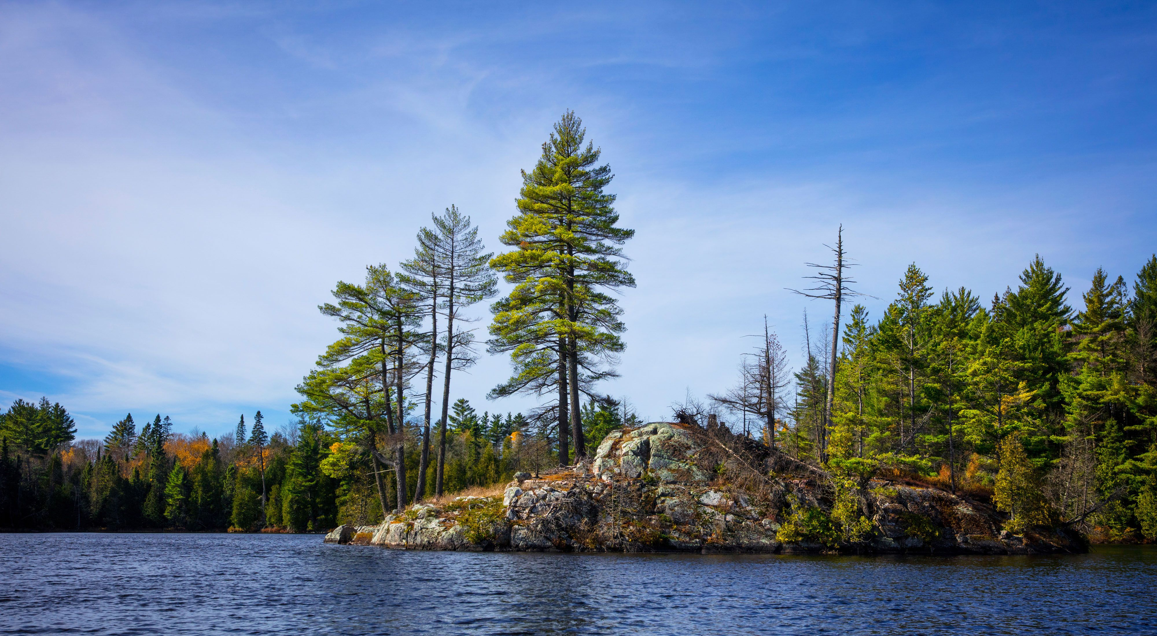Photo of a lake and rocky, forested shoreline in background.