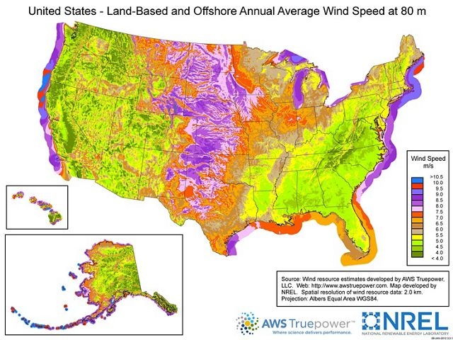 A map showing average offshore wind speeds