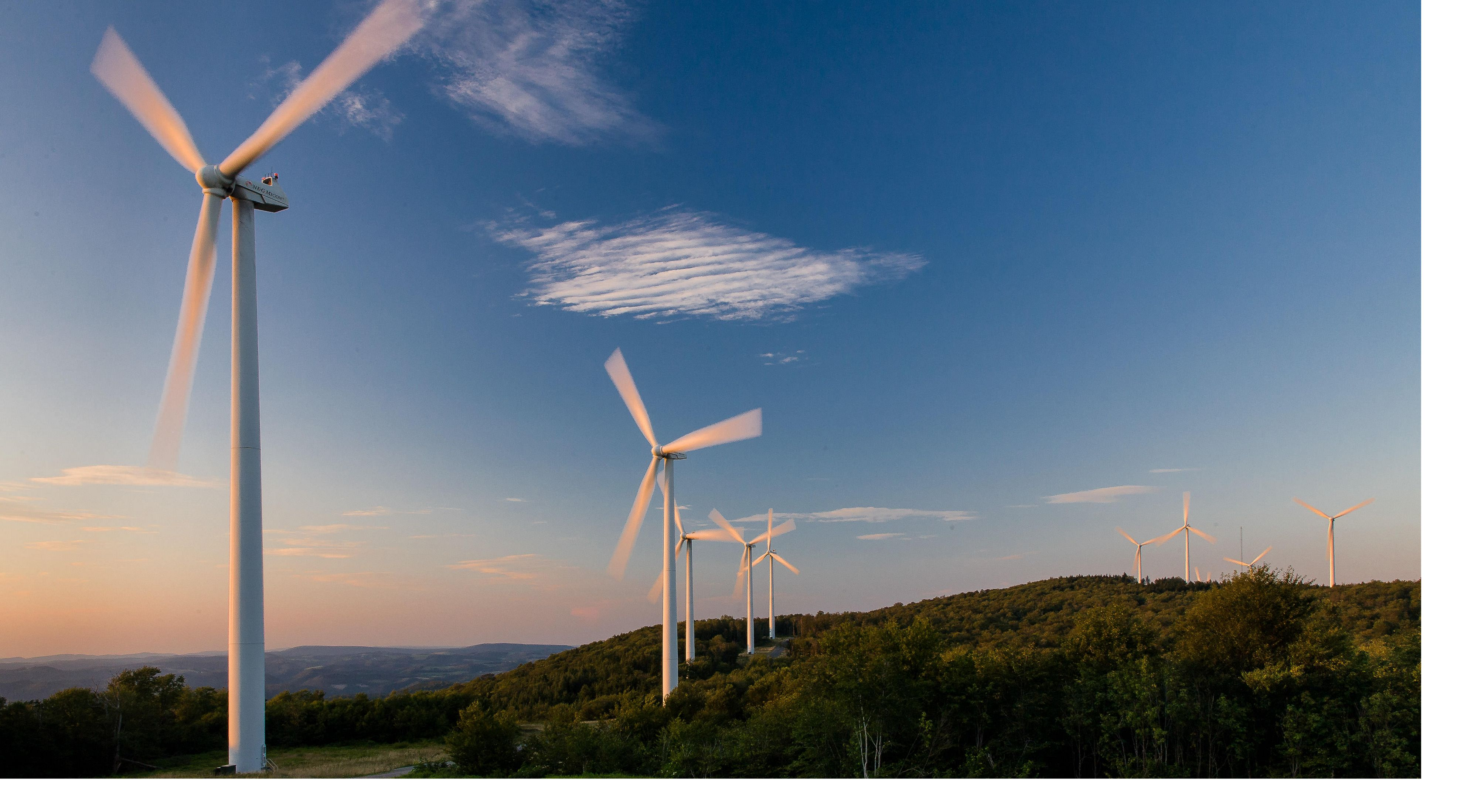 View of several wind turbines on a West Virginia ridge top.