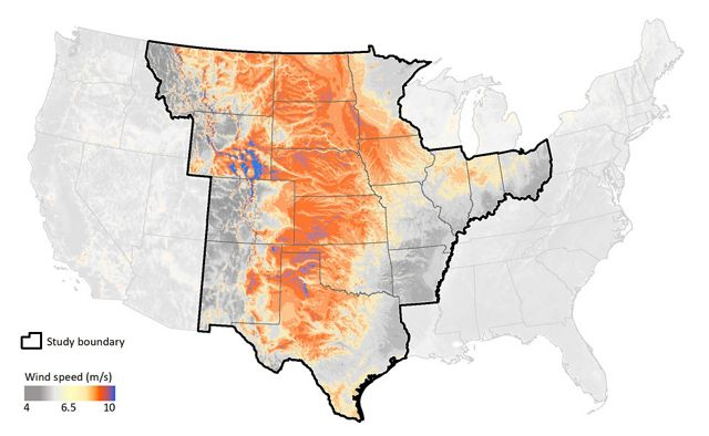 Average wind speeds in the U.S. are right in the Central Great Plains.