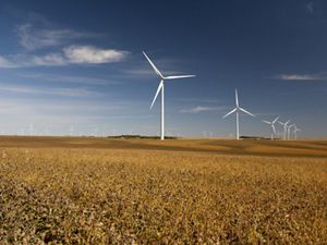Wind turbines above The Nature Conservancy's Hole In The Mountain Prairie near Lake Benton, Minnesota.