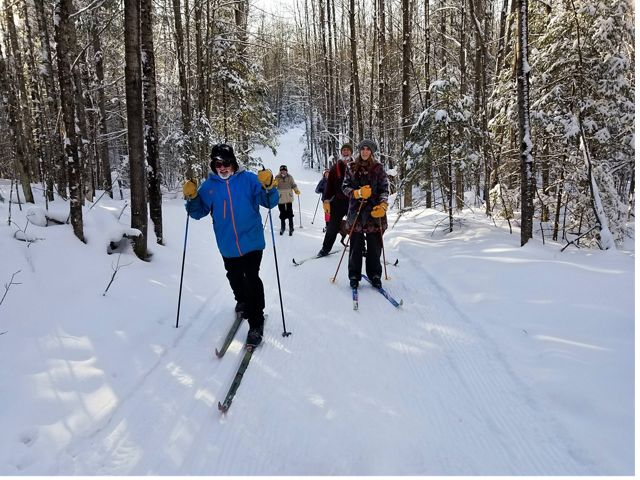 Cross-country skiers on snowy trail bordered by conifer trees with sun glinting on snow at Catherine Wolter Wilderness Area