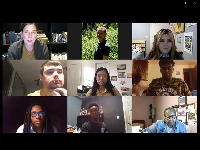 A screenshot shows nine people on a Zoom call.