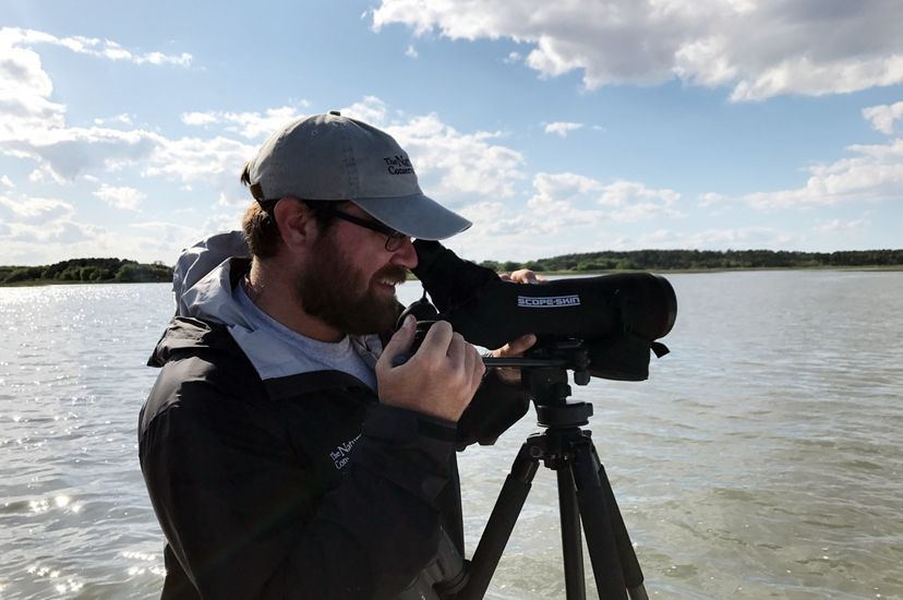 Candid snapshot of Coastal Biologist Zak Poulton. A bearded man looks through a monocular scope mounted on a tripod to observe birds at the Virginia Coast Reserve during TNC's 2017 Bird Blitz event.