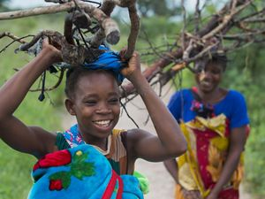 Two young women carry firewood on their heads
