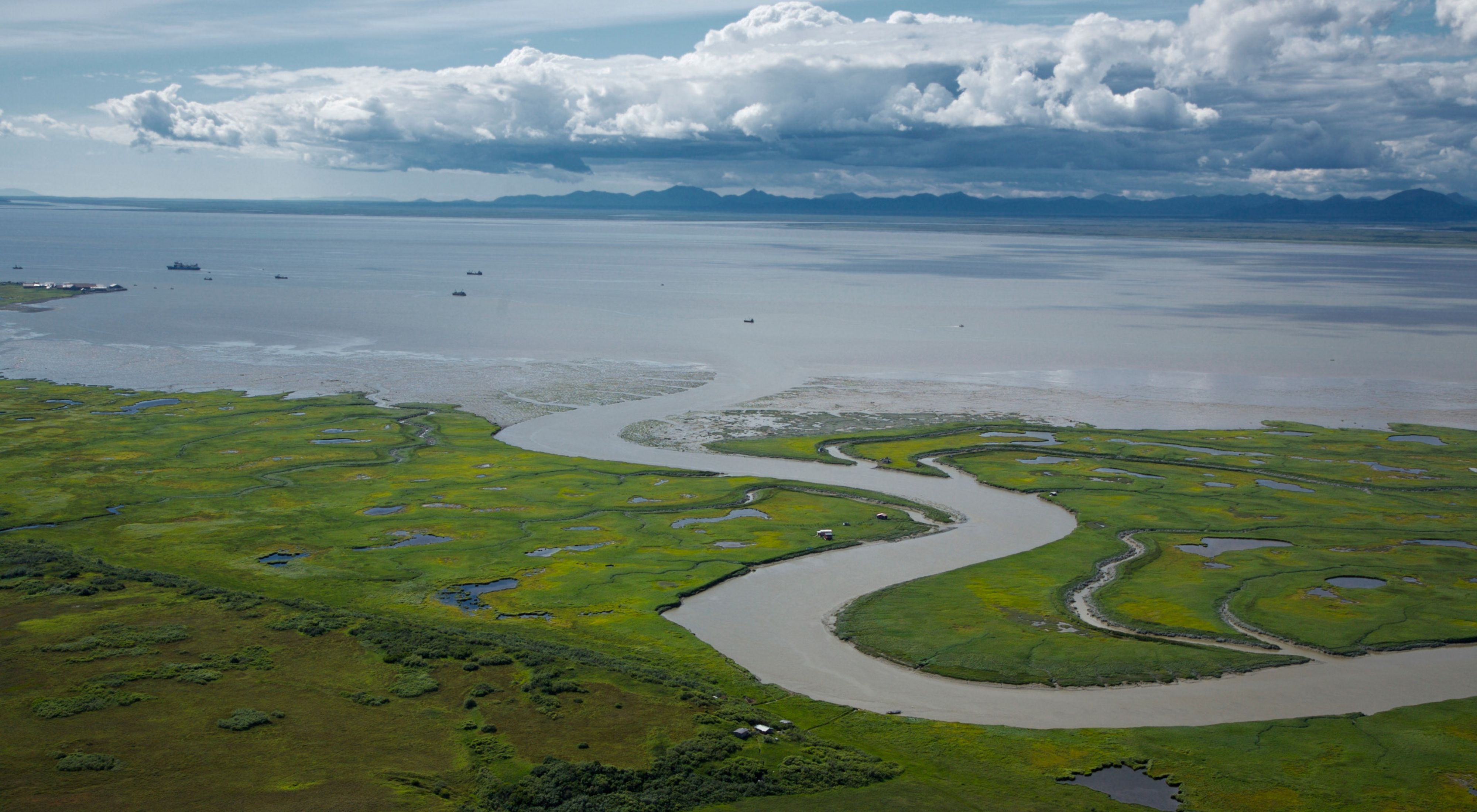 Alaskan landscape of Bristol Bay and mountains.