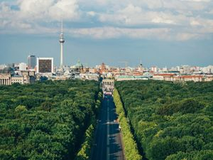 Aerial view of the Berlin skyline.