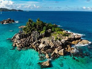 Aerial view of an island in Seychelles