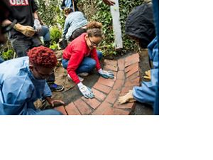 Volunteers lay pavers in an urban garden