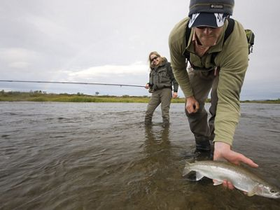 Catch and release trout fishing in the legendary Talarik River in Alaska.
