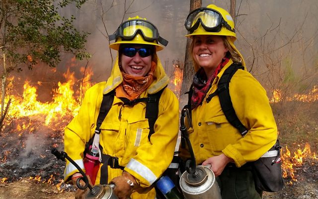 (l) serving as a Conservancy volunteer during a controlled burn at Piney Grove Preserve.