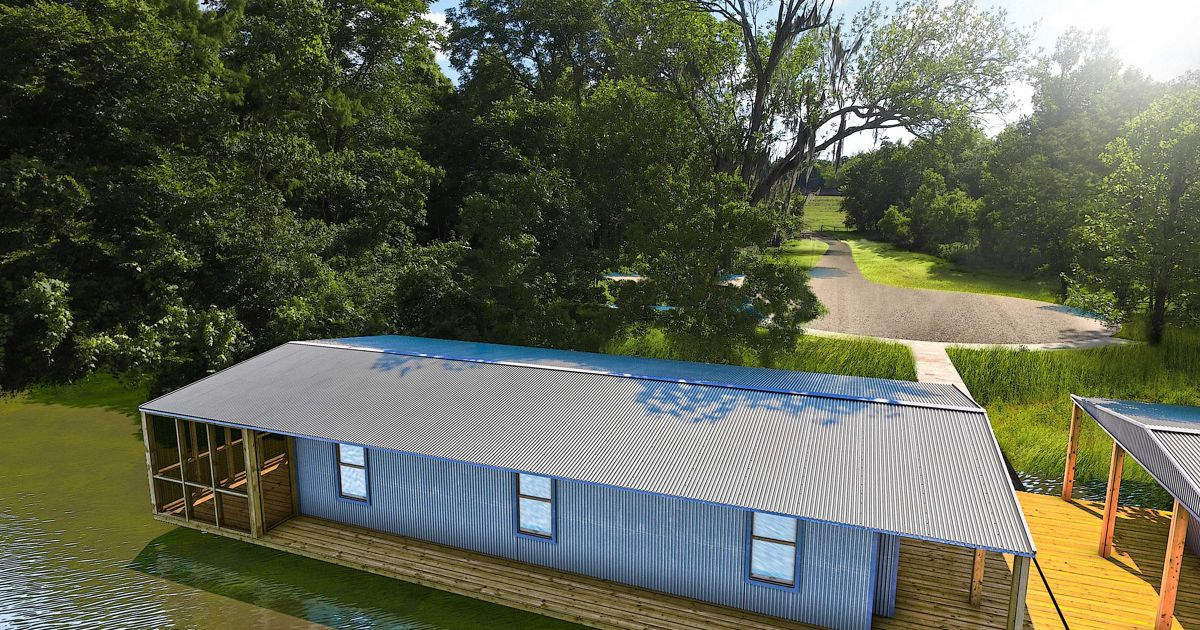 An artist's rendition of the completed Atchafalaya Conservation Center barge, which is currently under construction.