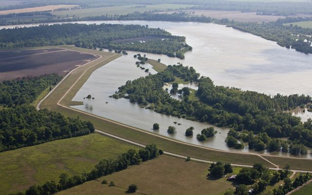 An aerial view of the flooded areas along the Atchafalaya River outside of Baton Rouge, LA.