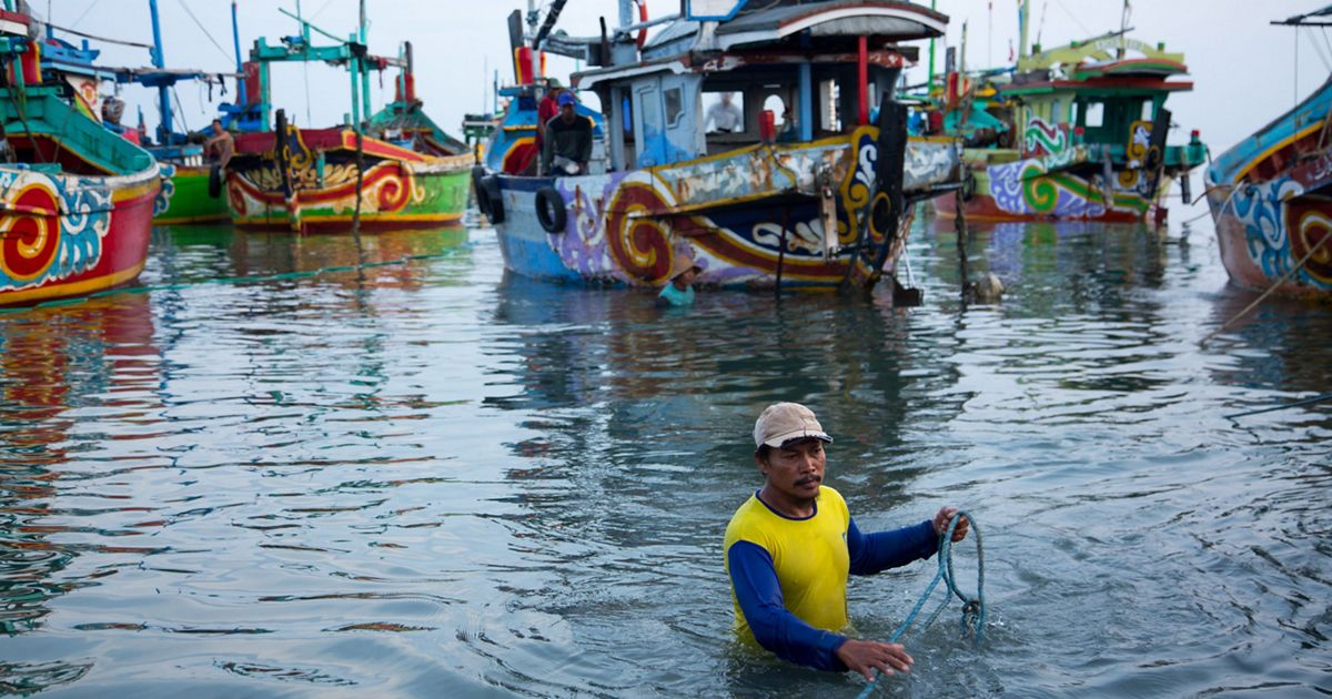 a man up to his waist in water near some fishing boats.