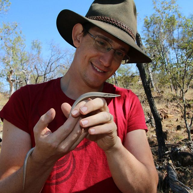 Outback Conservation Officer holding a legless lizard