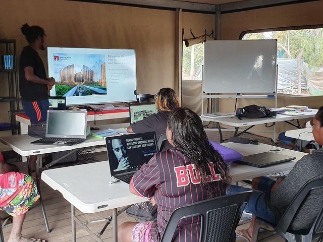 presenting his Macquarie Uni work for Wuyagiba Study Hub 2019 students
