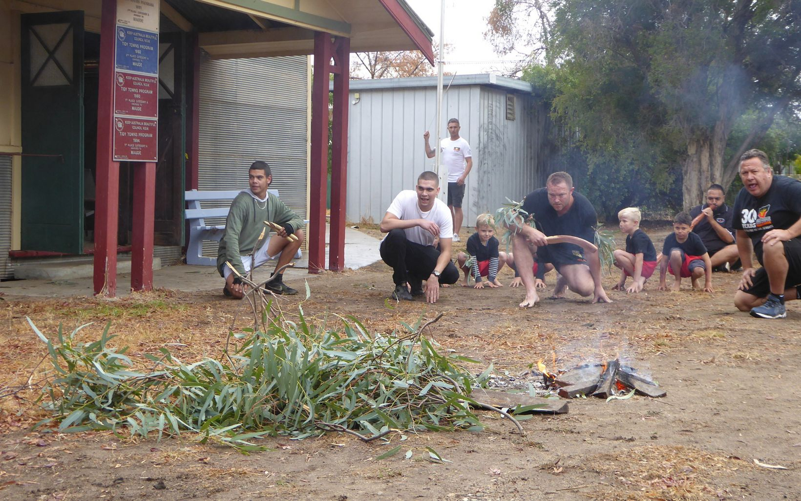 smoking ceremony at the Gayini Nimmie-Caira announcement, Maude, NSW