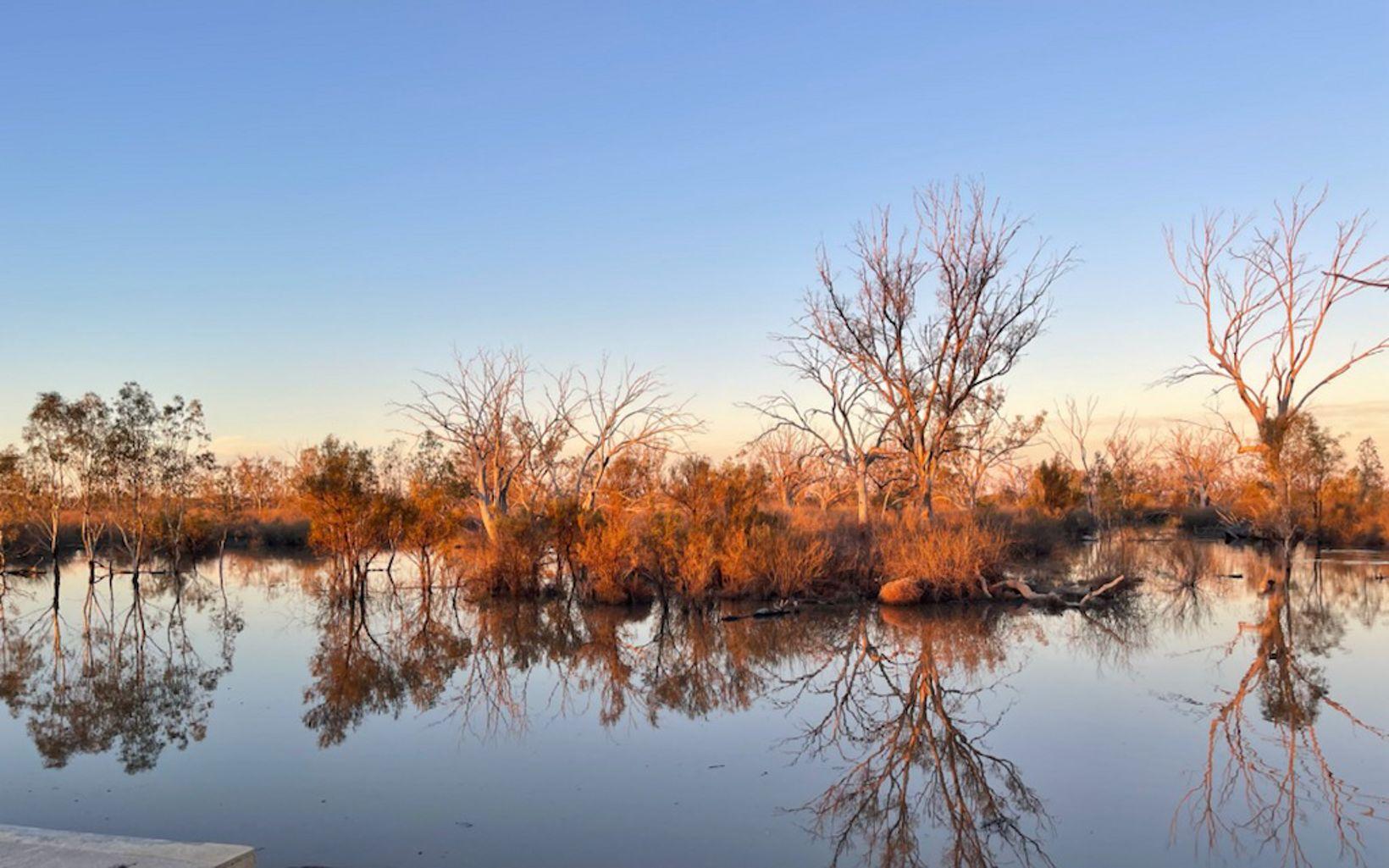 Mungery regulator rising flood water reflections