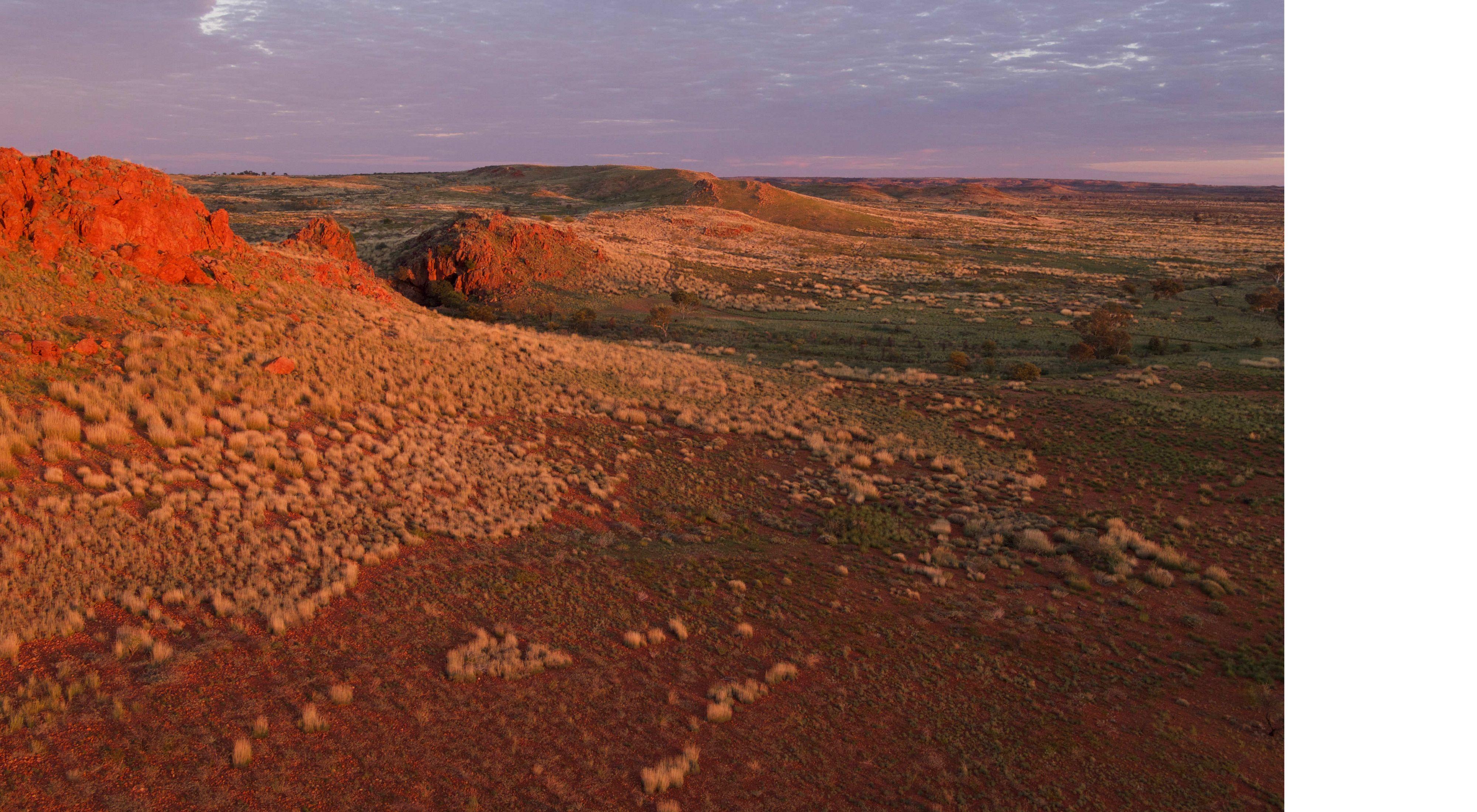 a desert at dusk