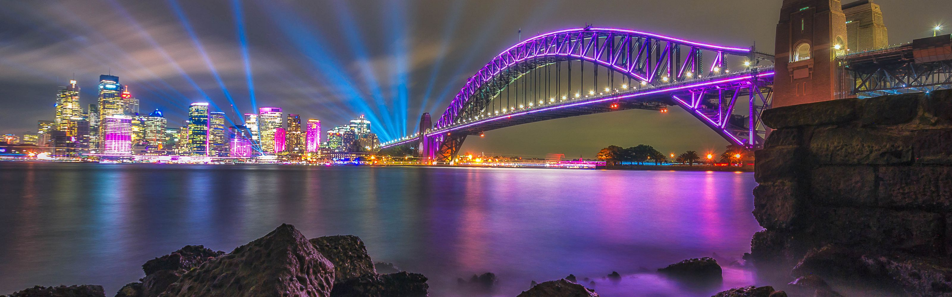 colorful city lights at night