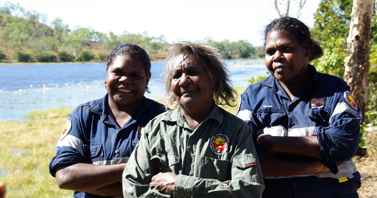 Indigenous rangers from Ngukurr, Northern Territory, including Yugul Mangi senior women (from left to right) Edna Nelson, Cherry Daniels and Julie Roy
