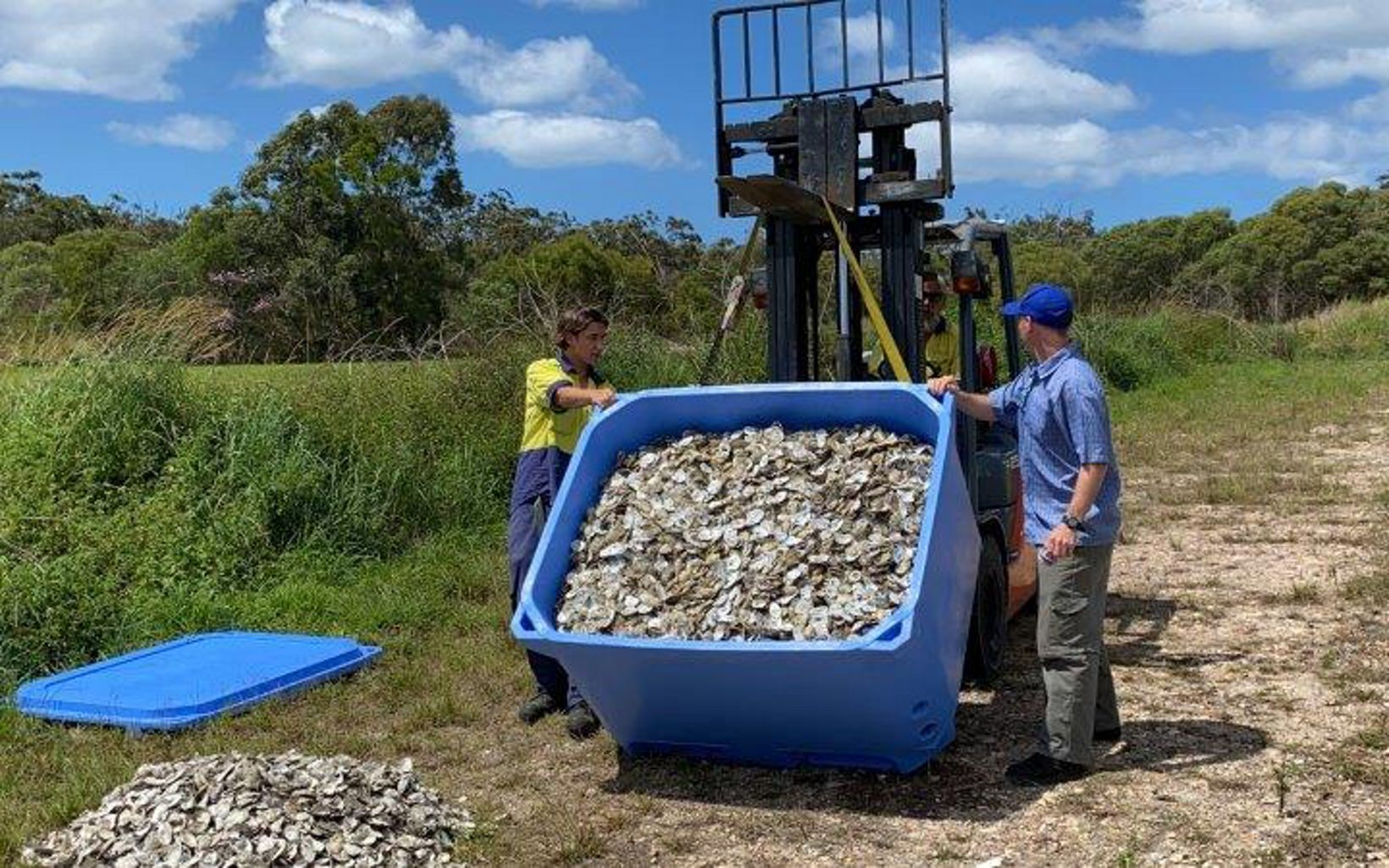 Noosa's first load of recycled shells delivered to the curing site