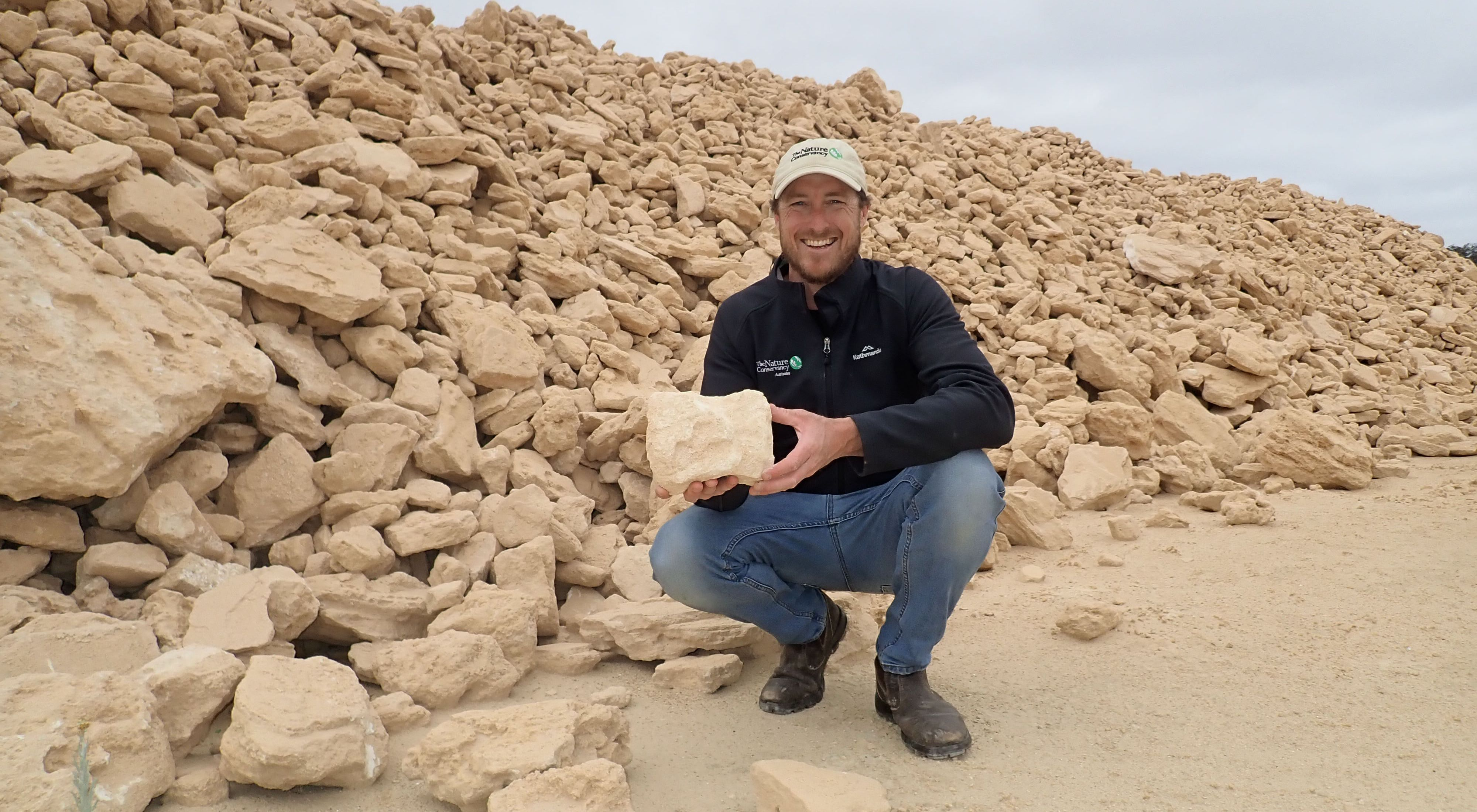 with 1,000 tonnes of limestone bound for new reefs in Oyster Harbour
