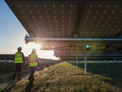 Two people walking next to a large solar panel array