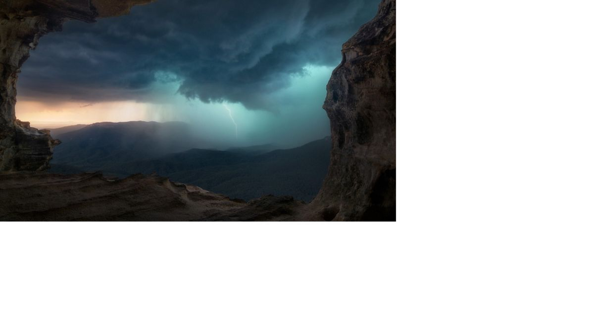 Storm from a cave in Blue Mountains, NSW