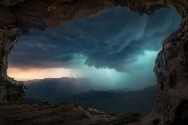 2019 Photo Contest - Storm from a cave, Blue Mountains, NSW