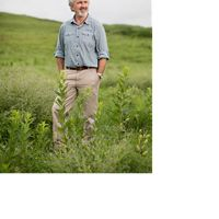 man standing in green grass