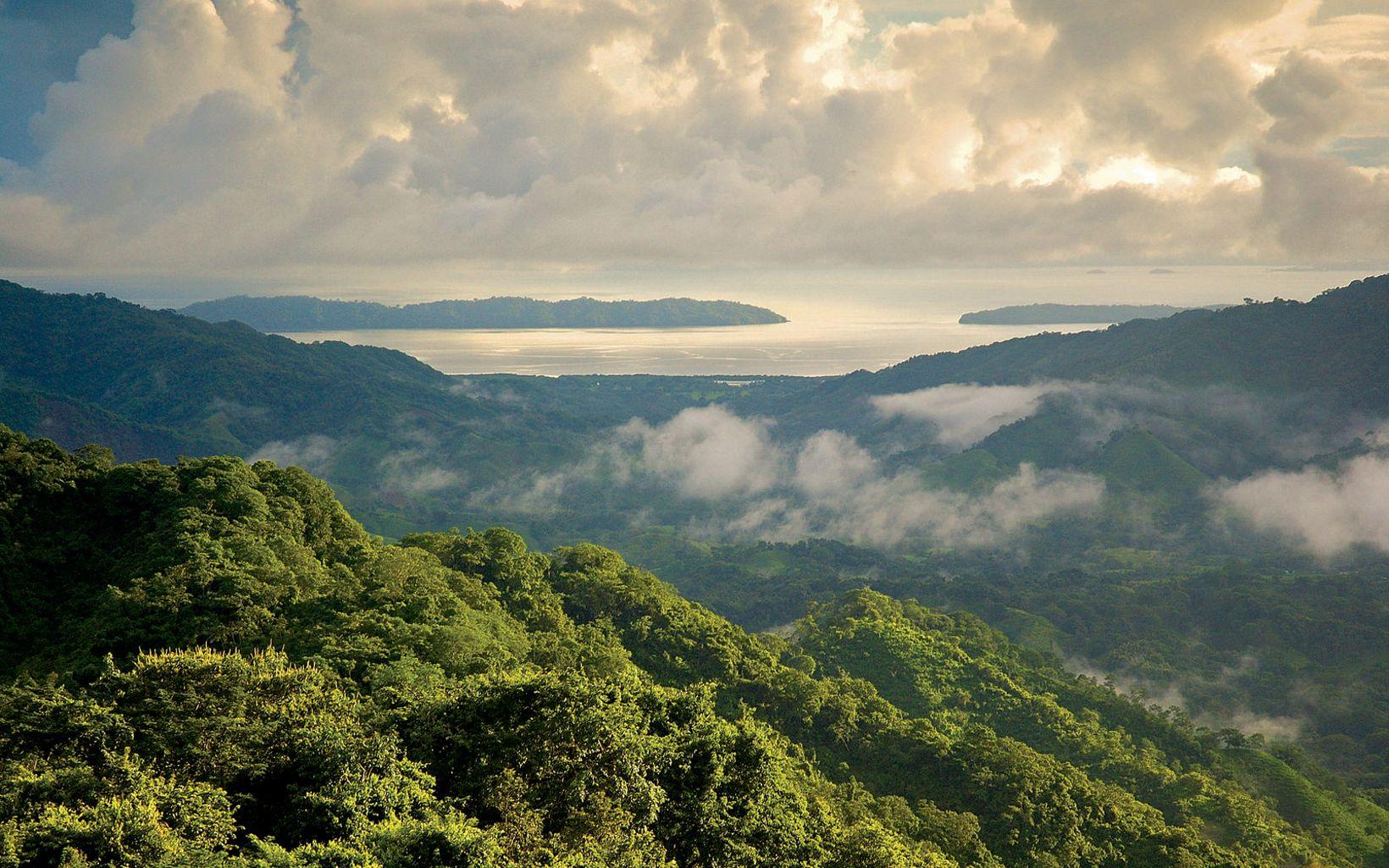 Bosque seco tropical y el Golfo de Nicoya, durante la temporada de lluvias; fotografiado desde la Reserva Karen Mogensen F.