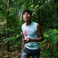Bepnhibety Xikrin surveying restoration efforts in a forest near the Pot-Kro Village, Brazil. He marks the location of Brazil nut trees in his GPS.  This work is part of the Conservancy and community's ethnomapping effort to identify and preserve areas of the forest that are especially important to the community. Our innovation is enabling compliance with Brazil's progressive Forest Code, while increasing economic opportunity. We are working with indigenous peoples to integrate traditional knowledge with modern approaches to landscape planning in order to enable greater leadership in deciding how their traditional territories will be managed and to have a stronger voice in policy decisions.