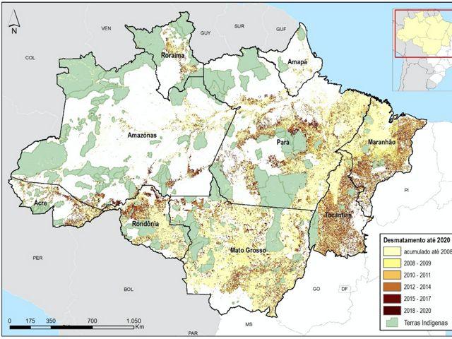 Observando o mapa de desmatamento da Amazônia é possível notar que as áreas onde não existe desmatamento geralmente são Terras Indígenas.