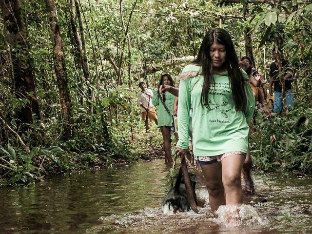 Indígenas do povo Parakanã, do médio Xingu, no Pará, em expedição para extrativismo na Terra Indígena Apyterewa.