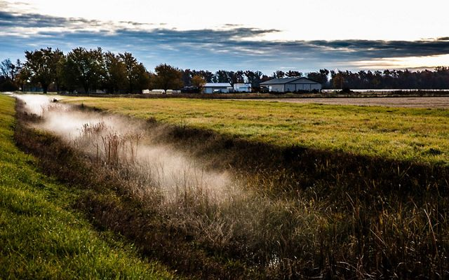 Mist rising from a ditch that juts across the landscape of a grassy farm field with white metal barns in the background.