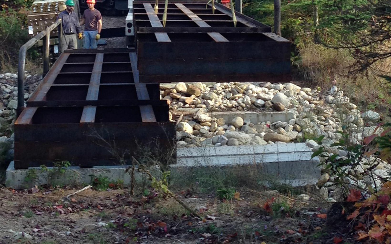 A portable bridge can be used at multiple sites in the Two Hearted River Watershed where logging trucks need to pass, but still allowing open flow of water for fish passage.