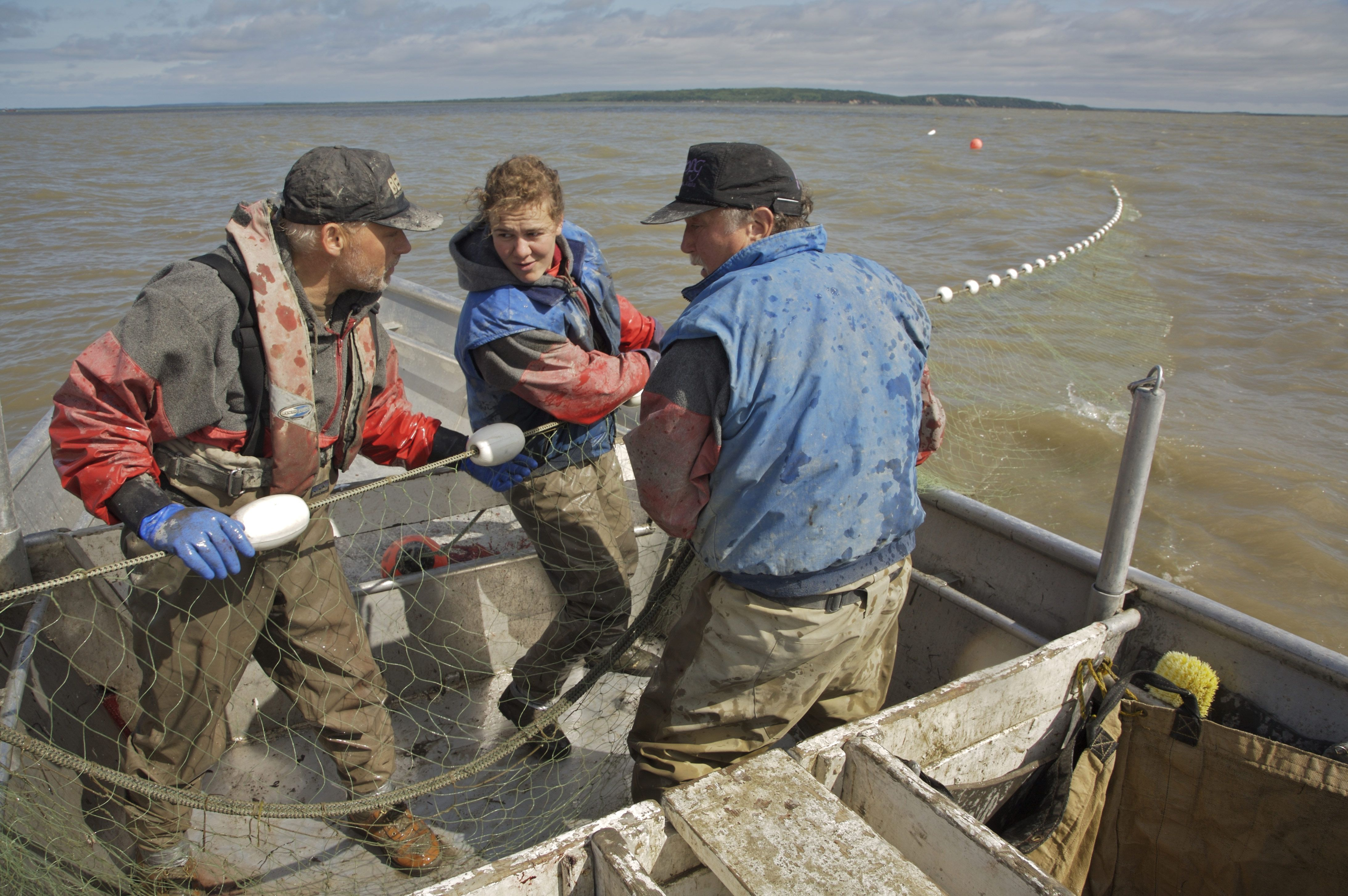 People pulling nets on a commercial salmon setnet skiff